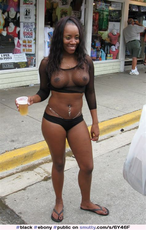 Black Ebony Public Publicnudity Exhibitionist Tits Topless Sexy Beer