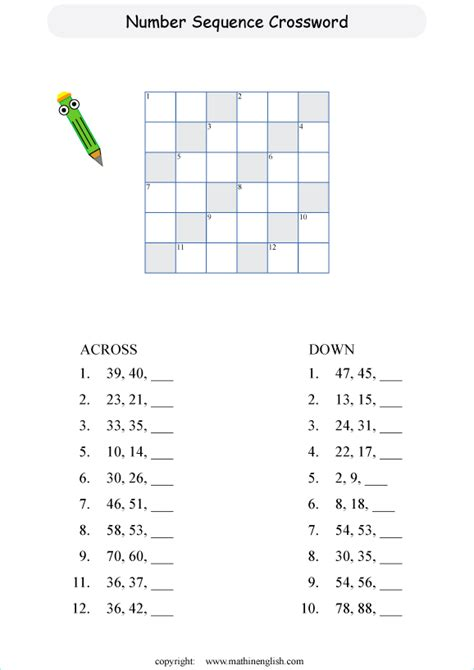 subtraction sequence crossword puzzle