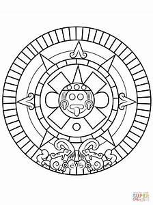 Aztec Calendar Coloring Coloring Pages