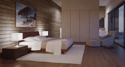 modern bedroom with sleek cabinetry   Interior Design Ideas.