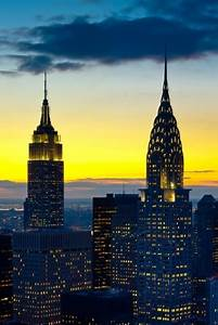 Empire State Building & Chrysler Building, NYC,...