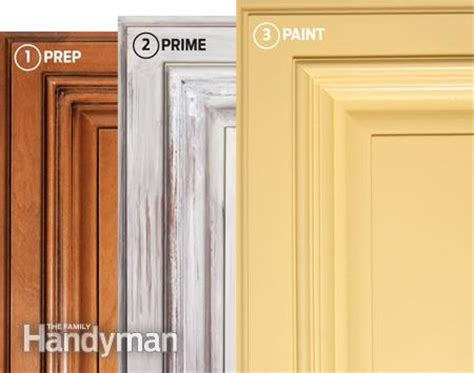 how to paint kitchen cabinets step by step how to spray paint kitchen cabinets the family handyman