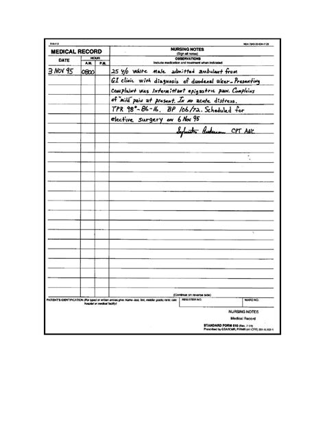 nurses notes template nursing note template exle of a sf 510 notes showing an admitting entry taking vital signs