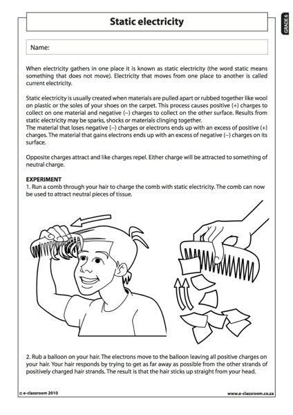 static electricity natural science worksheet grade