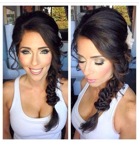 bridal flower hair pin fishtail braid wedding makeup smokey bridal makeup