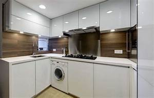 Modern small warm apartment contemporary kitchen for Kitchen cabinets lowes with hong kong wall art