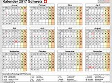Kalender 2017 Schweiz in Excel zum Ausdrucken