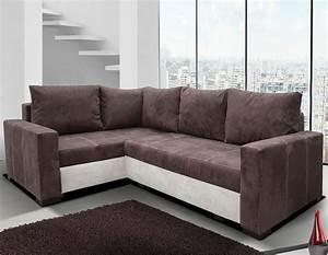 Canapé D Angle Convertible Marron : canap d 39 angle marron et beige en tissu ~ Teatrodelosmanantiales.com Idées de Décoration