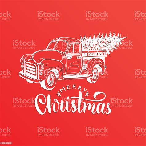 Merry Christmas Lettering Vector Hand Drawn Toy Pickup