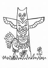 Totem Native Coloring Sheet Pole Coloriage Yakari Kleurplaat Cowboys Indien Indianen Kleurplaten Thema Cowboy Coloriages Sheets Template Thanksgiving Petit Poles sketch template