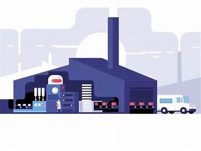 Factory Animated Animation Gifs Flat Dribbble Illustration