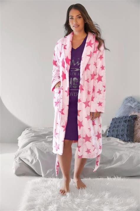 rosa fleece morgenmantel mit sternemuster und taschen