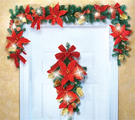 5 ft led lighted holiday christmas poinsettia red