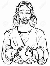 Holding Jesus Hands Earth Hand Clipart Planet Portrait Colouring Drawing Vector Illustration Coloring Earts Pages Clip Bible God Drawings Line sketch template