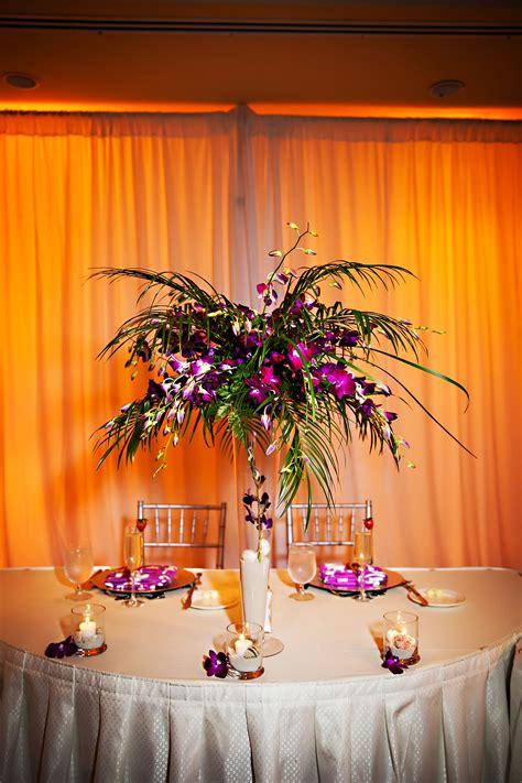 tropical purple  palm tree leaf centerpiece