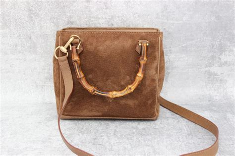 gucci tan suede leather bamboo handle bag  jills