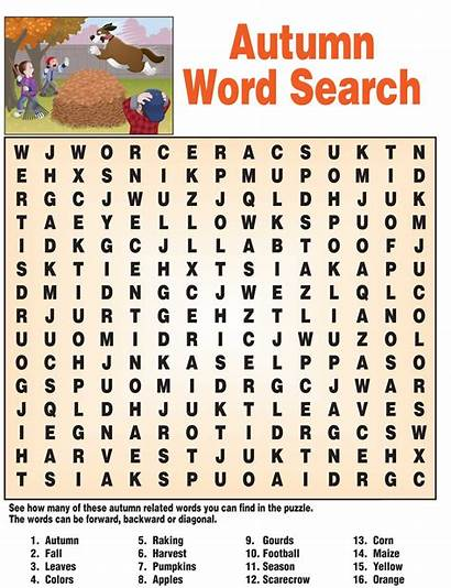 Word Puzzles Fall Printable Autumn Words Puzzle