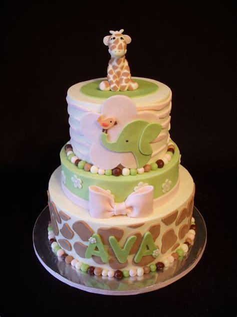 shower baby cake cakes jungle safari animal zoo jill buttercream giraffe birthday fondant mmf cakecentral dvd animals decorations cute crib