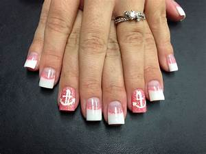 Pink and white acrylics with coral glitter accents! Anchor ...
