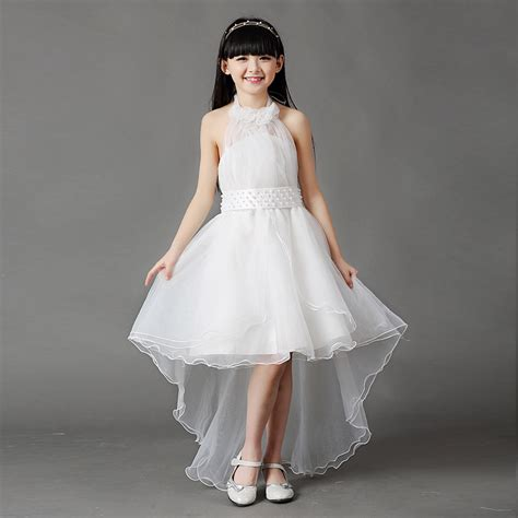 3 16Y Kids Gauze pearl Tee dresses for teenage girls children Party wedding dress clothing for ...