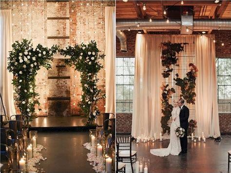 industrial loft style wedding ceremony backdrop ideas
