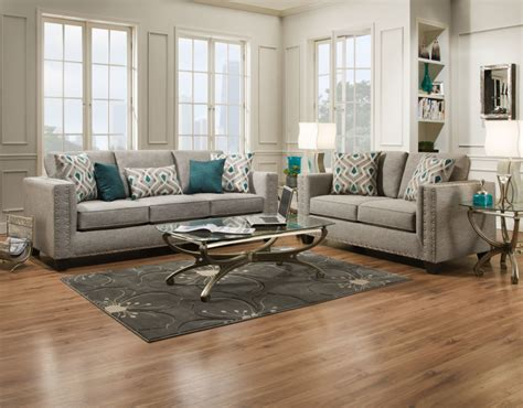 Loveseat And Chair Set by Paradigm Quartz Fog Sofa And Loveseat Set