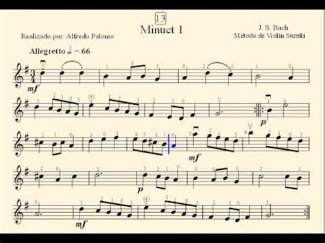 Minuet 1 Suzuki by Partitura Minuet 1 N 186 13 De J S Bach M 233 Todo De Viol 237 N