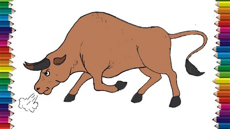 draw  bull cartoon step  step easy animals