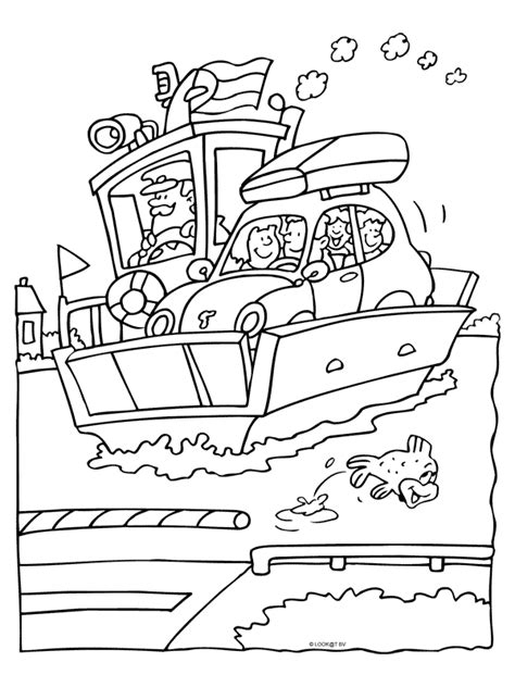 Kleurplaat Brandweerman Sam Boot by Kleurplaat Auto Op De Veerboot Kleurplaten Nl