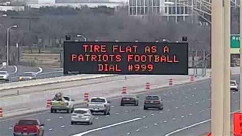 super bowl toll road signs poke fun  patriots rams