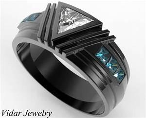Black gold triangle diamond wedding ring for a men vidar for Wedding ring for a man
