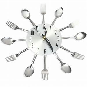 Stainless Steel Modern Creative Wall Clock Kitchen Cutlery ...