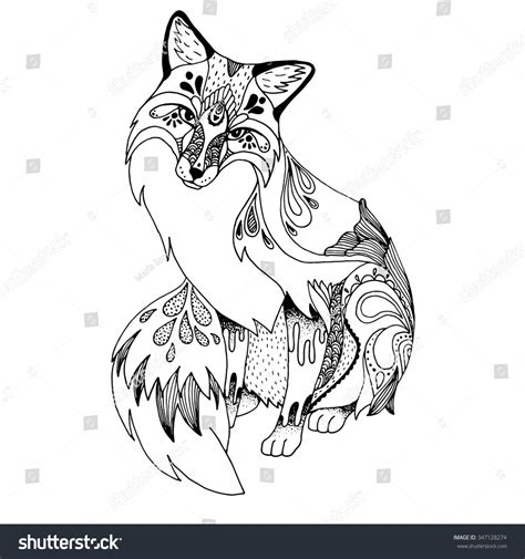 abstract fox ornate isolated vector illustration stock