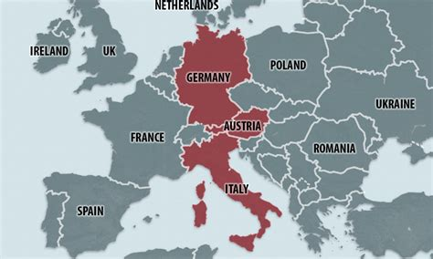United germany was considered the enlarged continuation of west germany so it retained its memberships in international physical map of germany. Map Of Austria Germany And Italy - Maps of the World