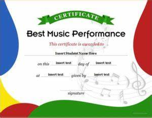 Award Certificate Template Microsoft Word Music Performance Award Certificate 2 Professional