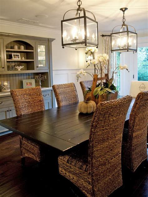 neutral dining room decoration with wood table and rattan
