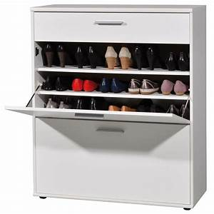 meuble a chaussures easy avec 2 abattants blanc 3664 084 With meuble chaussure