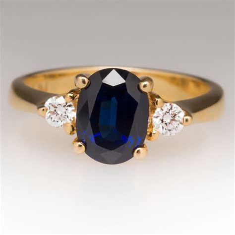carat rich dark blue sapphire  stone ring