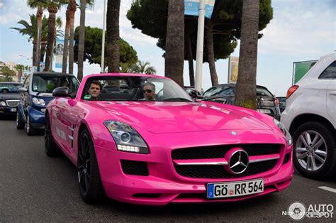 pink mercedes truck second car of pink gin spotted mercedes benz sls amg roadster