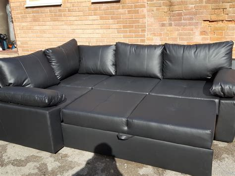 Brand New Black Leather Corner Sofa Bed With Storage.can