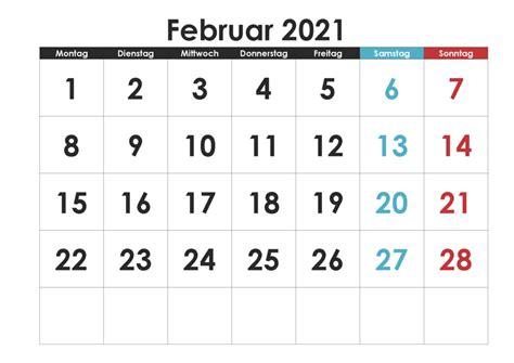 Kalender dezember 2021 zum ausdrucken mit ferien. Kostenlos Druckbar Februar 2021 Kalender Zum Ausdrucken PDF, Excel, Word