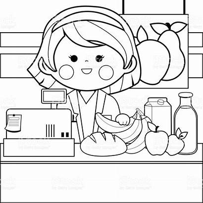 Coloring Grocery Pages Counter Drawing Employee Adult