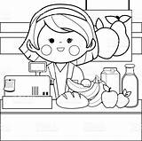 Coloring Grocery Pages Counter Drawing Shopping Employee Adult Printable Fruit Getdrawings Getcolorings Illustration sketch template
