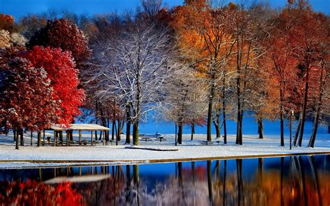 First Snow In The Park Autumn And Winter Season