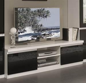 Meuble Cache Tv : meuble tv design laqu blanc et noir loana meubles tv ~ Premium-room.com Idées de Décoration