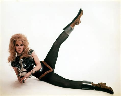 celebrities movies and games jane fonda undressing in zero gravity barbarella stills 1968