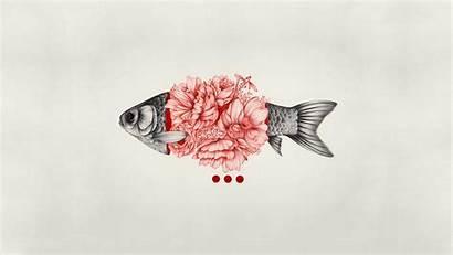 Simple Background Digital Fish Drawing Desktop Flowers
