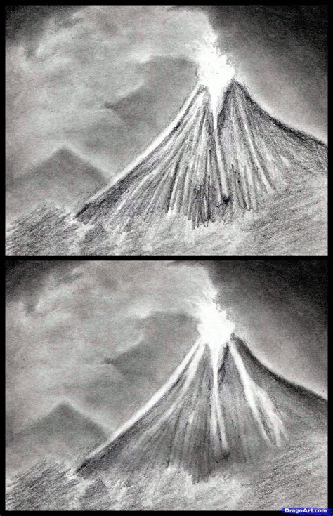 Step 9 How To Draw Volcanoes Draw A Volcano