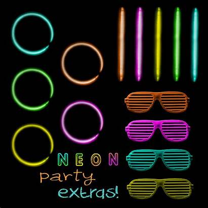 Neon Clipart Glow Clip Party Colors 80s