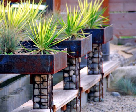 gabion raised garden beds gabions build benches fence landscape flower bench wall modern rock ofdesign itself wire fences yourself patio